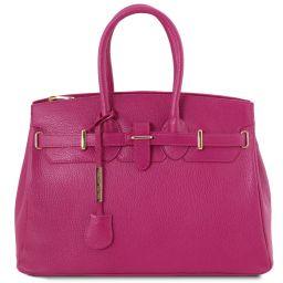 TL Bag Handtasche aus Leder mit goldfarbenen Beschläge Fucsia TL141529