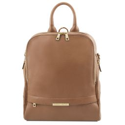 TL Bag Soft leather backpack for women Taupe TL141376