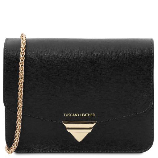 TL Bag Saffiano leather clutch with chain strap Black TL141954