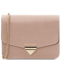 TL Bag Saffiano leather clutch with chain strap Nude TL141954