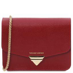 TL Bag Pochette in pelle Saffiano con tracolla a catena Rosso TL141954