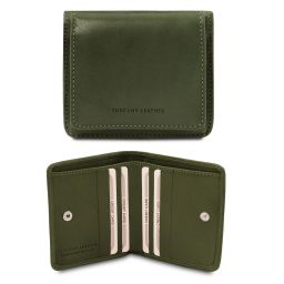 Exclusive leather wallet with coin pocket Зеленый TL142059