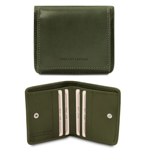 Exclusive leather wallet with coin pocket Green TL142059
