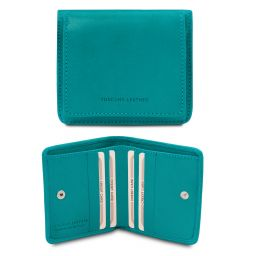 Exclusive leather wallet with coin pocket Бирюзовый TL142059