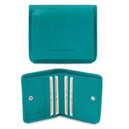Elégant portefeuille en cuir avec porte monnaie Turquoise TL142059