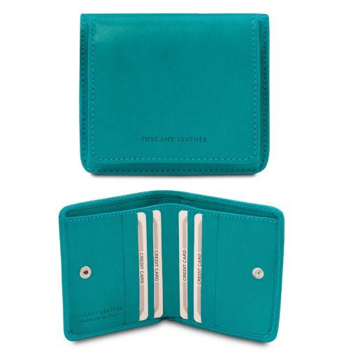 Esclusivo portafoglio in pelle con portamonete Turchese TL142059