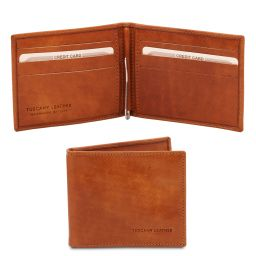 Exclusive leather card holder with money clip Honey TL142055