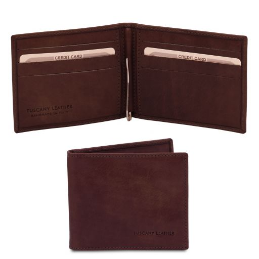 Exclusive leather card holder with money clip Dark Brown TL142055