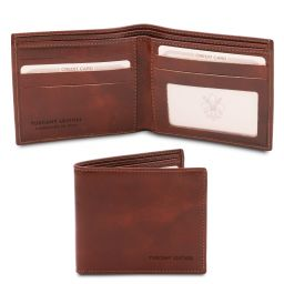 Exclusive 2 fold leather wallet for men Коричневый TL142056