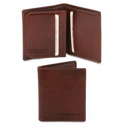 Elégant portefeuille en cuir pour homme 3 volets Marron TL142057