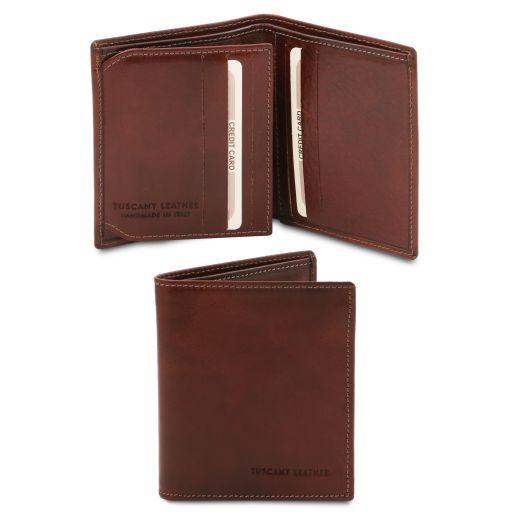 Эксклюзивный кожаный бумажник тройного сложения для мужчин Коричневый TL142057