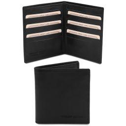 Esclusivo portafoglio uomo in pelle 2 ante Nero TL142060