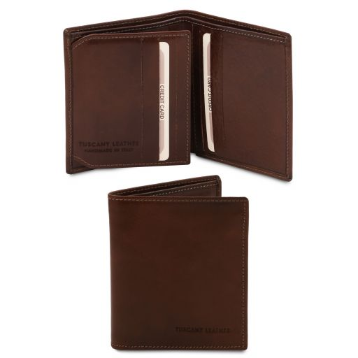 Exclusive 3 fold leather wallet for men Dark Brown TL142057