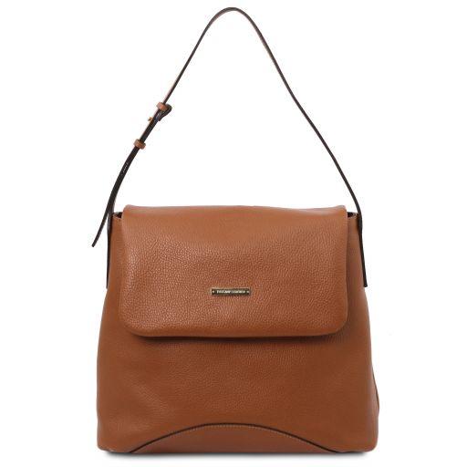 TL Bag Soft leather shoulder bag Cognac TL142082