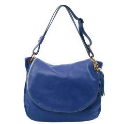 TL Bag Sac bandoulière besace en cuir souple avec pompon Bleu TL141110