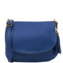 TL Bag Soft leather shoulder bag with tassel detail Blue TL141223