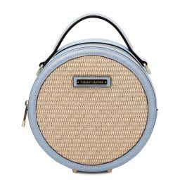 Thelma Runde Tasche mit Stroheffekt Himmelblau TL142090