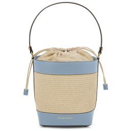 Louise Bolso cubo efecto paja Light Blue TL142091
