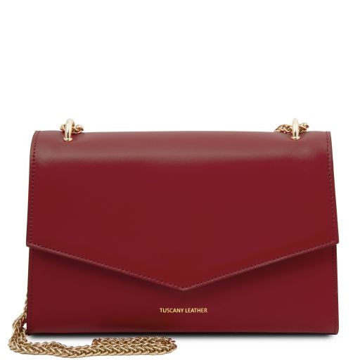 Fortuna Leather clutch with chain strap Red TL141944