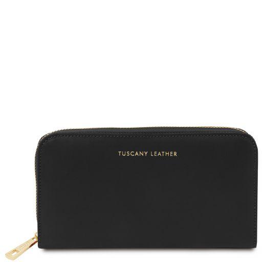 Venere Exclusive leather accordion wallet with zip closure Black TL142085