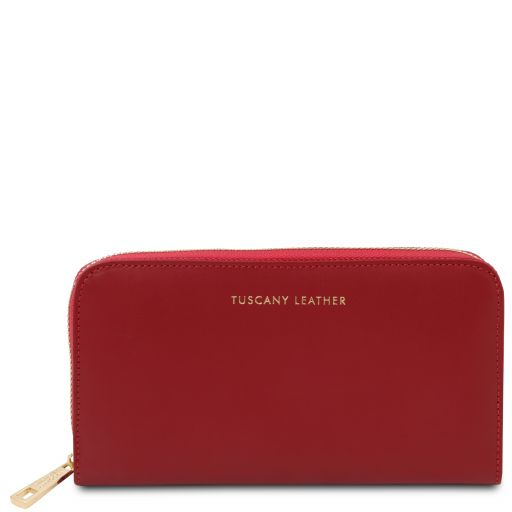 Venere Exclusive leather accordion wallet with zip closure Red TL142085