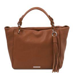 TL Bag Soft leather shopping bag Cognac TL142048
