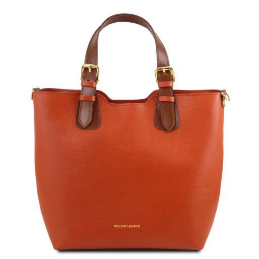 TL Bag Saffiano leather tote Brandy TL141696