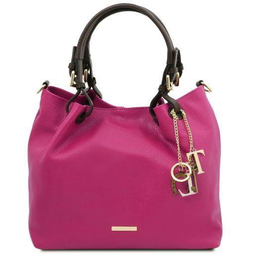 TL KeyLuck Soft leather shopping bag Fuchsia TL141940