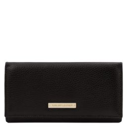 Nefti Exklusive Geldbörse für Damen aus weichem Leder Schwarz TL142053