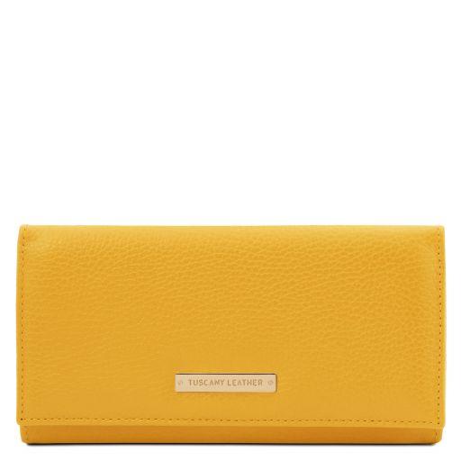 Nefti Exklusive Geldbörse für Damen aus weichem Leder Gelb TL142053