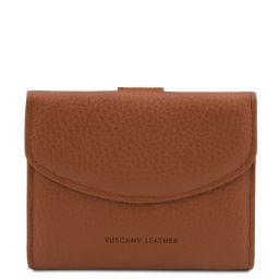 Calliope Exklusive Damenbrieftasche aus Leder mit 3 Scheinfächern und Münzfach Cognac TL142058