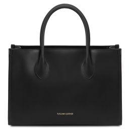 Letizia Shopping Tasche aus Leder Schwarz TL142040
