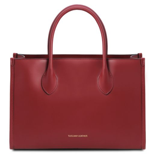 Letizia Leather shopping bag Red TL142040
