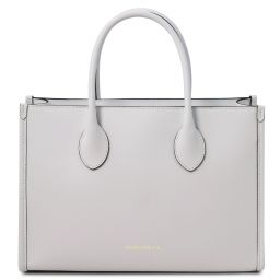 Letizia Leather shopping bag White TL142040