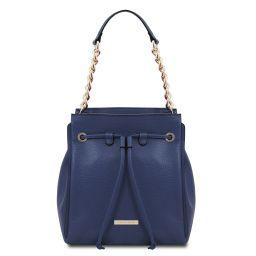 TL Bag Bolso cubo secchiello en piel suave Azul oscuro TL142134