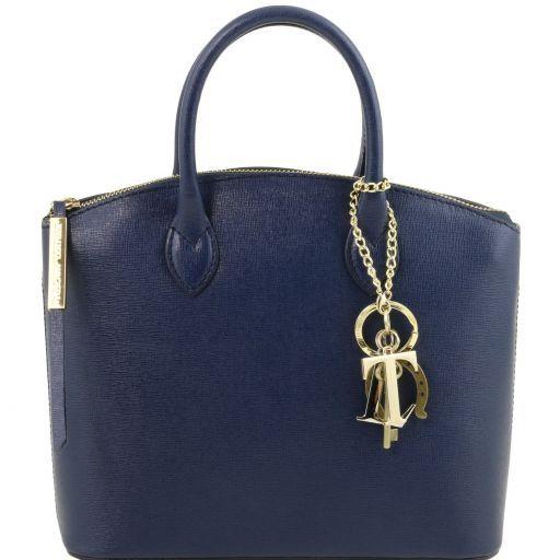 TL KeyLuck Borsa shopper in pelle Saffiano - Misura piccola Blu scuro TL141579