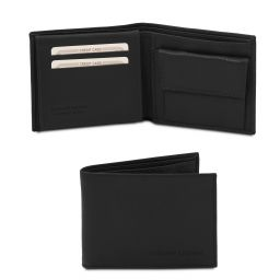 Exclusive soft 3 fold leather wallet for men with coin pocket Black TL142074