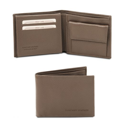 Exclusive soft 3 fold leather wallet for men with coin pocket Dark Taupe TL142074