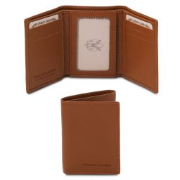 Exclusive soft 3 fold leather wallet for men Коньяк TL142086