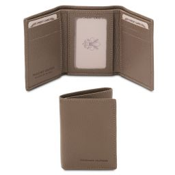 Esclusivo portafoglio in pelle morbida a 3 ante Talpa scuro TL142086