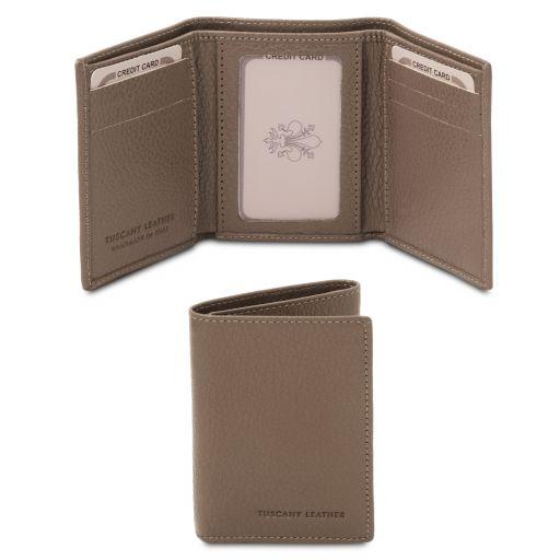 Elégant portefeuille en cuir souple avec 3 volets Taupe foncé TL142086