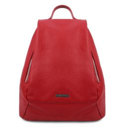 TL Bag Soft leather backpack for women Lipstick Red TL142096