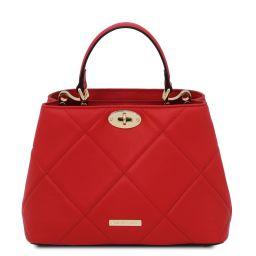 TL Bag Handtasche aus weichem Leder im Steppdesign Lipstick Rot TL142132