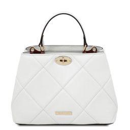 TL Bag Sac à main en cuir souple matelassé Blanc TL142132