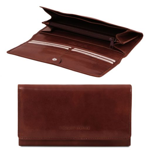 Exclusive leather accordion wallet for women Brown TL140787