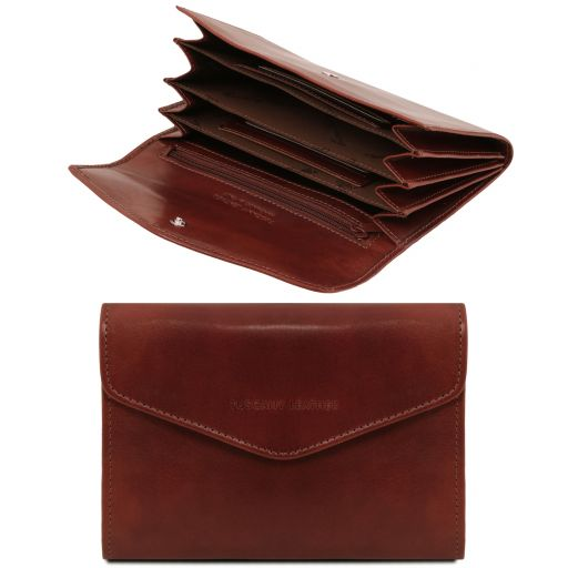 Exclusive leather accordion wallet for women Brown TL140786