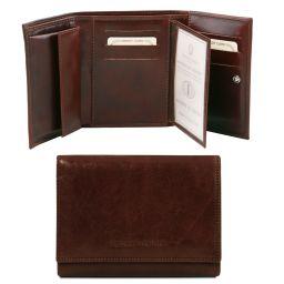 Exklusive Damenbrieftasche aus Leder mit Ausweisfach Dunkelbraun TL140790