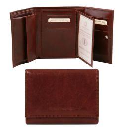 Esclusivo portafogli in pelle da donna 4 ante Marrone TL140790