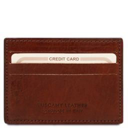 Exclusive leather credit/business card Brown TL141011