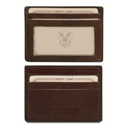 Exclusive leather credit/business card holder Dark Brown TL140805